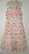 BONNIE JEAN Girls DOT DRESS 12 Party Sun TIERS NEW $44 NWT Full Lining LONG Bow