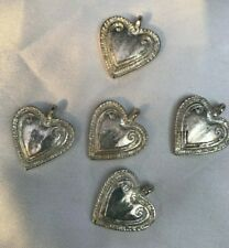 Hearts 5 Silver Heart Charms Pendants Findings Crafts Diy