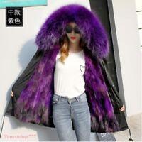 Winter Real Fur Lining Luxary Women Coat Outwear Parka Fox Fur Big Fur Collar