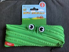 Zipit Animals Pouch, Zipper Pencil Bag - Green Frog Animal Edition