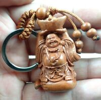 45*26MM Hand-carved Buddha Wooden Crafts,Key Chain,Key Ring Lover e7
