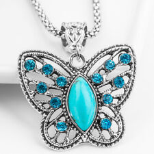 Crystal Rhinestone & Natural Blue Stone Butterfly Pendant  Snake Chain Necklace