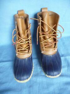 "L.L.Bean Woman 8M Bean Boots 8"" Blue Rubber Brown Leather"