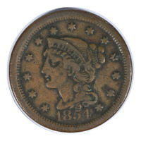 1854 Braided Hair Cent Extra Fine