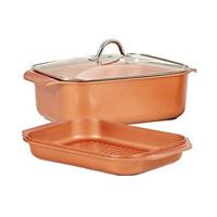 Copper Chef Wonder Cooker XL Pro 12.5 Qt 3pc Set Grill Pan, Roaster Pan, & Lid