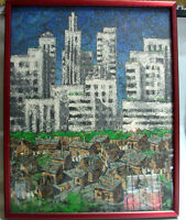 M. GLUCHMAN SIGNED ORIGINAL PAINTING 20X16 FRAME GLASS CITY STREETS