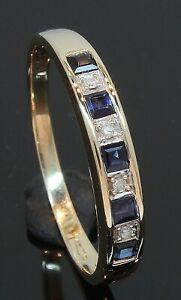 9 Carat Yellow Gold Sapphire & Diamond Eternity Ring Size Q (80.21.023)