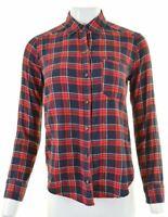 HOLLISTER Womens Flannel Shirt XS Red Check Cotton  U107