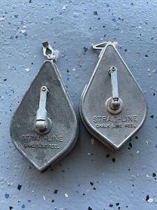 2 Vintage Irwin Straight-Line Chalk Line Reel Plumb Bob Made in USA Metal