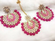 Bollywood Style Indian Pearl kundan Maang tikka and   earring set