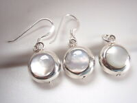 Reversible Mother of Pearl Green Onyx 925 Sterling Silver Earrings & Pendant Set