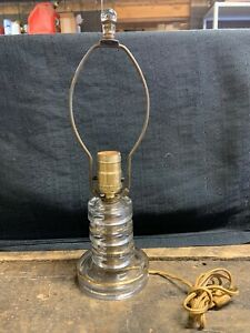 Vintage Art Deco Style Glass Cylinder-Disc Table/Desk Lamp