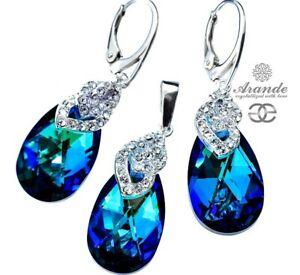 ORIGINAL CRYSTALS EARRINGS AND PENDANT BERMUDA BLUE SPECIAL SILVER 925