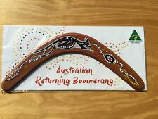 """Australian Made carded 14"""" decorated wood throwing boomerang - Roo design"""