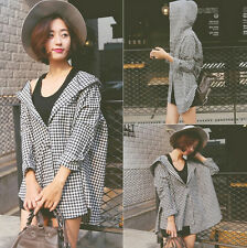 Hot Sale! Korean Autumn Women Long Sleeve Plaids Hoodie Shirt Casual Blouse