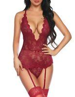 Guêpiere dentelle sexy lingerie féminine porte jarretelles string rouge bordeaux