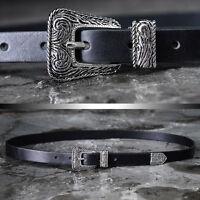 BytheR Men's Black Slim Urban Chic Silver Western Buckle Skinny Leather Belt