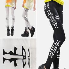 Stretchy Skinny Legging Black/White Solid Color Tribal Cross Stripe Sides Pants