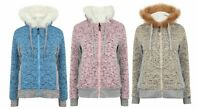 Ladies Jacket Fleece Lined Sherpa Faux Fur Hood Warm Thick Knitted Winter New