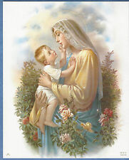 """Catholic Print Picture Mary & Baby Jesus w/ Roses art SIMEONE 8x10"""" from Italy"""