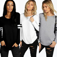 Womens Long Sleeve Crew Neck Stripe Blouse Lady Casual Loose Pullover Tops Shirt