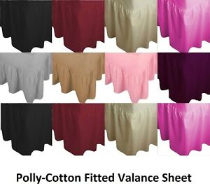 Luxury Non- Iron Plain Dyed Poly-Cotton Fitted Valance Sheet Single,,King,S King