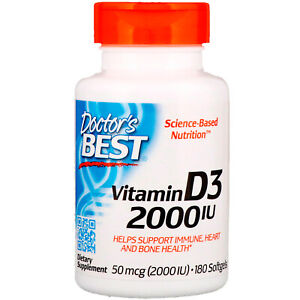 Doctor's Best Vitamin D3 2000IU | Dietary Nutrition Supplement - 180 Softgels