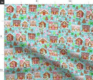 Holiday Gingerbread House Christmas Cookies Kids Spoonflower Fabric by the Yard