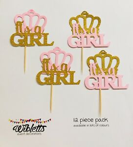 PAPER CUPCAKE TOPPER PICKS IT'S A GIRL PRINCESS CROWN GOLD PINK BABY SHOWER