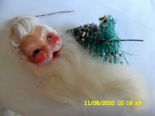 Vintage Santa Face Ornament W/Cotton Beard/Bristle Tree Ornament