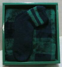 NEW Plush Throw with Cozy Socks Set with Gift Box Green $49.99
