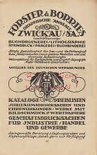ZWICKAU, Werbung 1920, Förster & Borries Grafische Anstalt Buchdruckerei