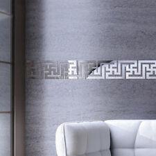 New Modern 10pcs 3D Mirror Art Mural Ceiling Wall Sticker Decor Silver