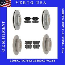 Front & Rear Brake Rotors & Ceramic Pads For Acura EL 2001-2005 & Honda Civic Si