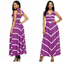 Maxi dress V neck cut out back Ladies printed empire full length cocktail Casual