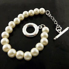 Pearl Bracelet Bangle 925 Sterling Silver S/F Ladies Classic Bead T'bar Design