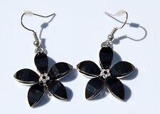 Earring Sparkle Resin Plumeria Hibiscus Flower Dangle Hawaii Luau CZ Black