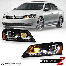 2012-2015 Volkswagen VW Passat B7 [E-CODE NMS STYLE] Black LED DRL Headlights