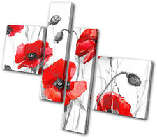 Floral Poppies Flowers MULTI DOEK WALL ART foto afdrukken