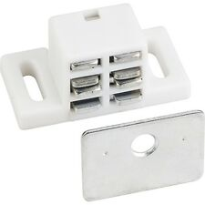 Extra Strong,High Magnetic Catch (4 Pk) White/Zinc w/ Strike Plates & Screws