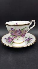 Vintage Paragon Purple Iris Brushed Gold Fine Bone China Tea Cup and Saucer