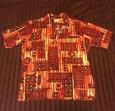 Vintage 1950s Hookano Tapa Print Pullover Bark Cloth Aloha Hawaiian Shirt Size L