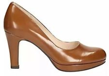 New👠CLARKS👠Size 4.5 Crisp Kendra Cognac Leather Platform Court Shoes 37.5EU