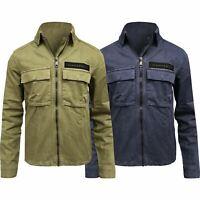 New Ex-Store Mens Denim Jacket Zip Up Top Over Coat Fashion Jeans Khaki XS-XXL