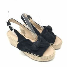 Franco Sarto Sandals Size 5 Womens Black Pixie Suede Slingback Wedge Suede