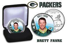 BRETT FAVRE NFL COLORIZED WISCONSIN U.S. STATEHOOD QUARTER/COIN! PACKERS LEGEND!