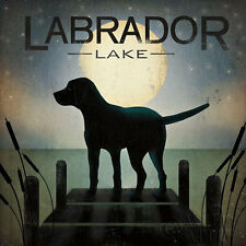 Moonrise Black Dog - Labrador Lake Ryan Fowler Sign Dog Lab Animals Print Poster