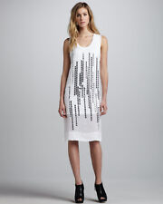 ROBERT RODRIGUEZ White Silk Metallic Grid decorated Dress size M UK 10-12