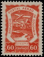 ✔️ COLOMBIA SCADTA 1921 - AIRPLANE OVER RIVER - SC. C31 ** MNH - RARE [SCDT16]