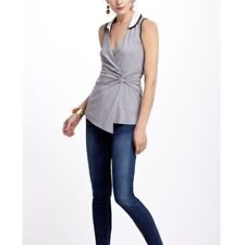 Anthropologie Leifnotes Contrast Collar Wrap Top Size S Gray White Sleeveless